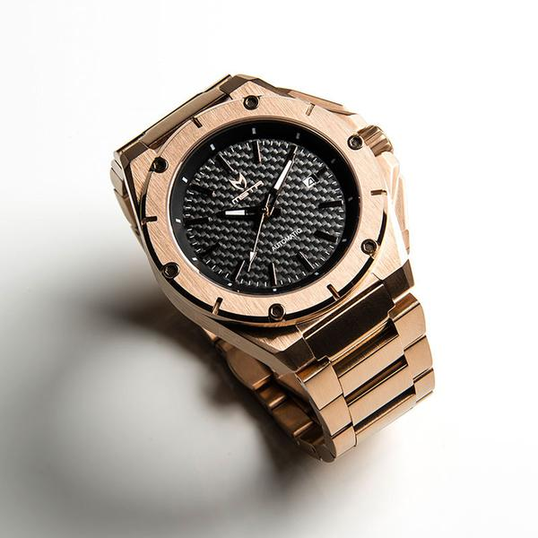 MSTR NOBLE AUTOMATIC / ROSE GOLD WITH CARBON FIBER - STAINLESS STEEL LINKS
