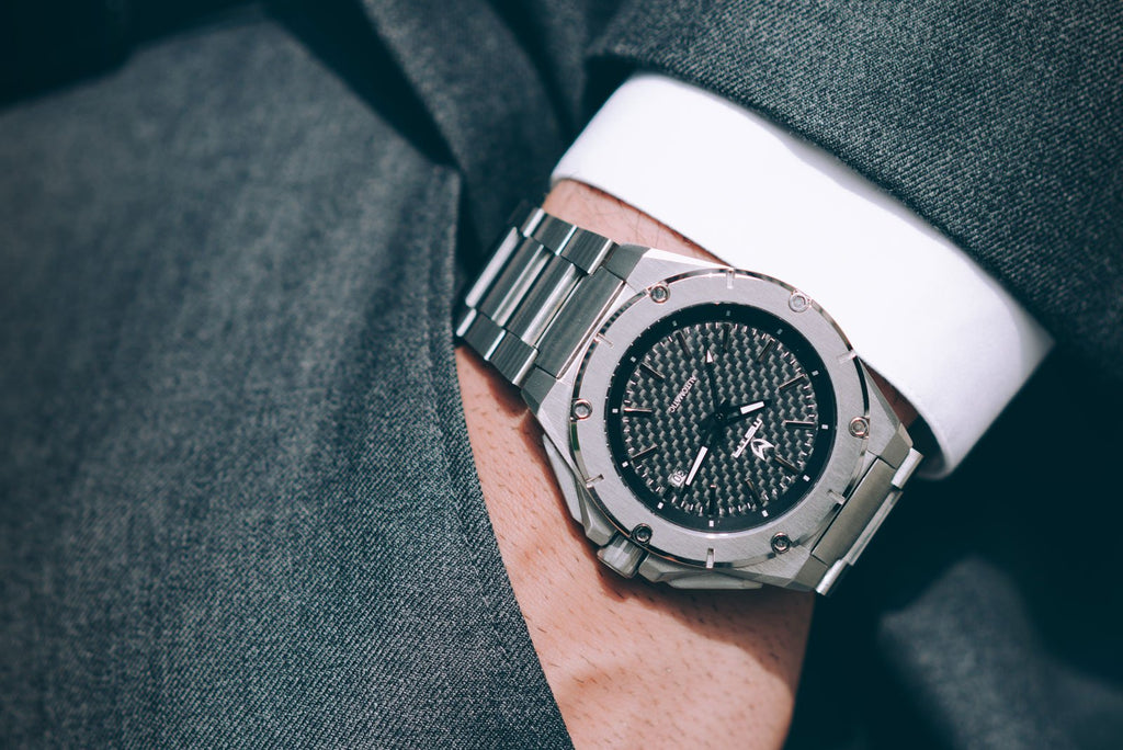 MSTR NOBLE AUTOMATIC / SILVER WITH CARBON FIBER - STAINLESS STEEL LINKS