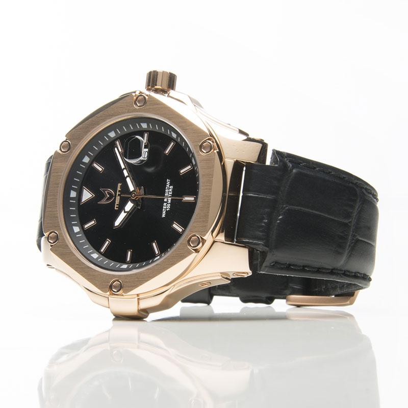 MSTR PR202CB PRODIGY V2 / ROSE GOLD & BLACK - CROC LEATHER BAND