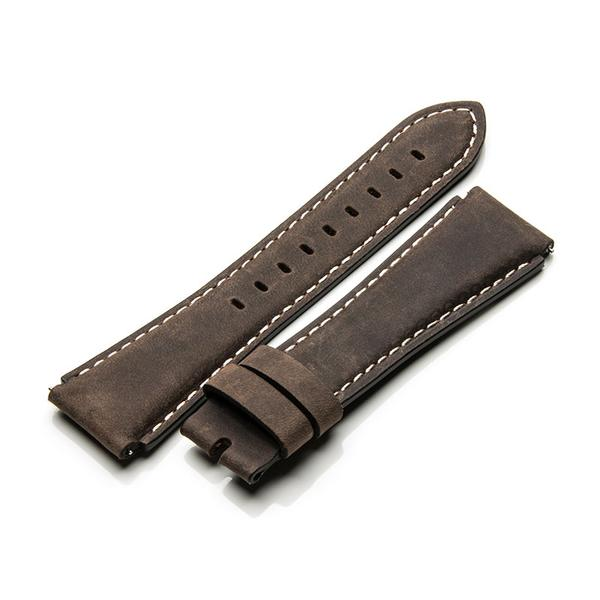 MSTR SB204LB DARK BROWN LEATHER BAND / WHITE STITCH