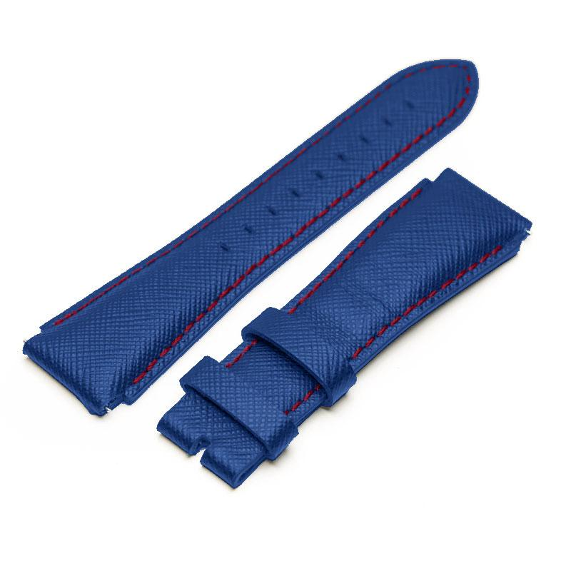 MSTR STRAP SB242SB - BLUE ITALIAN LEATHER BAND / RED STITCHING