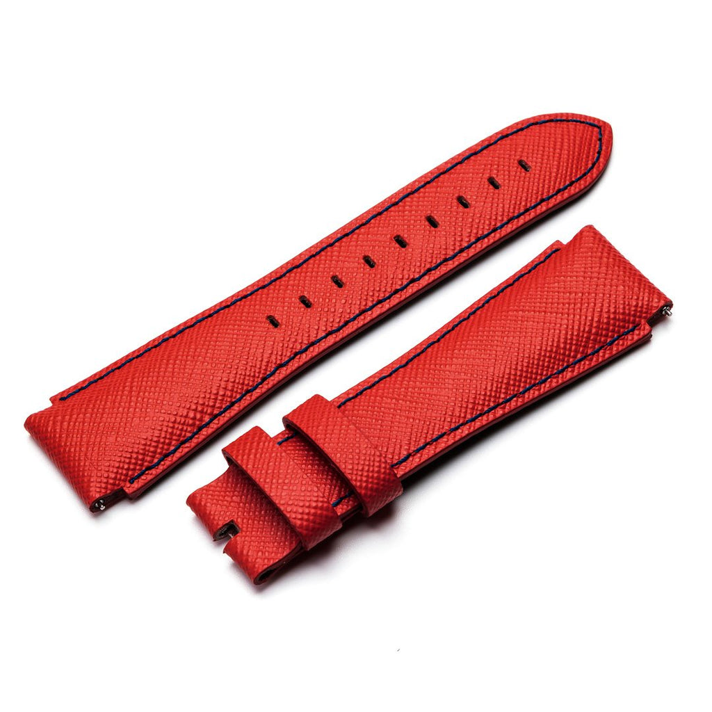 MSTR STRAP SB243SB - RED ITALIAN LEATHER BAND / BLUE STITCHING