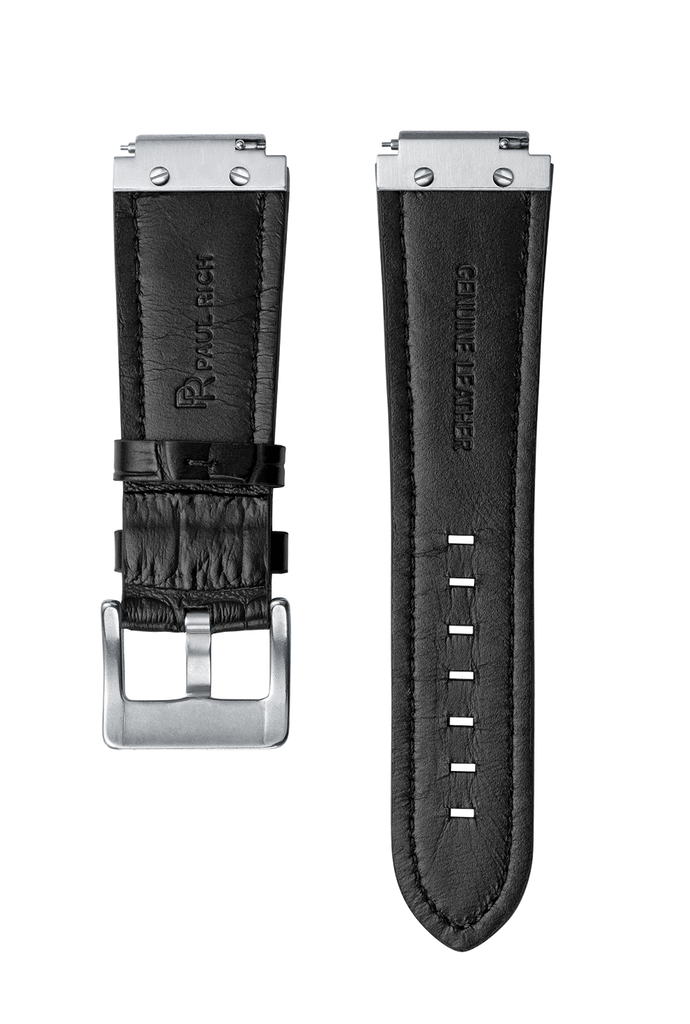 STEEL WATCHBAND - BLACK LEATHER