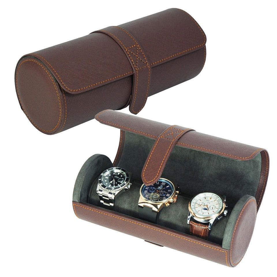 Leather Travel Case Watch Roll SW3502 DBR