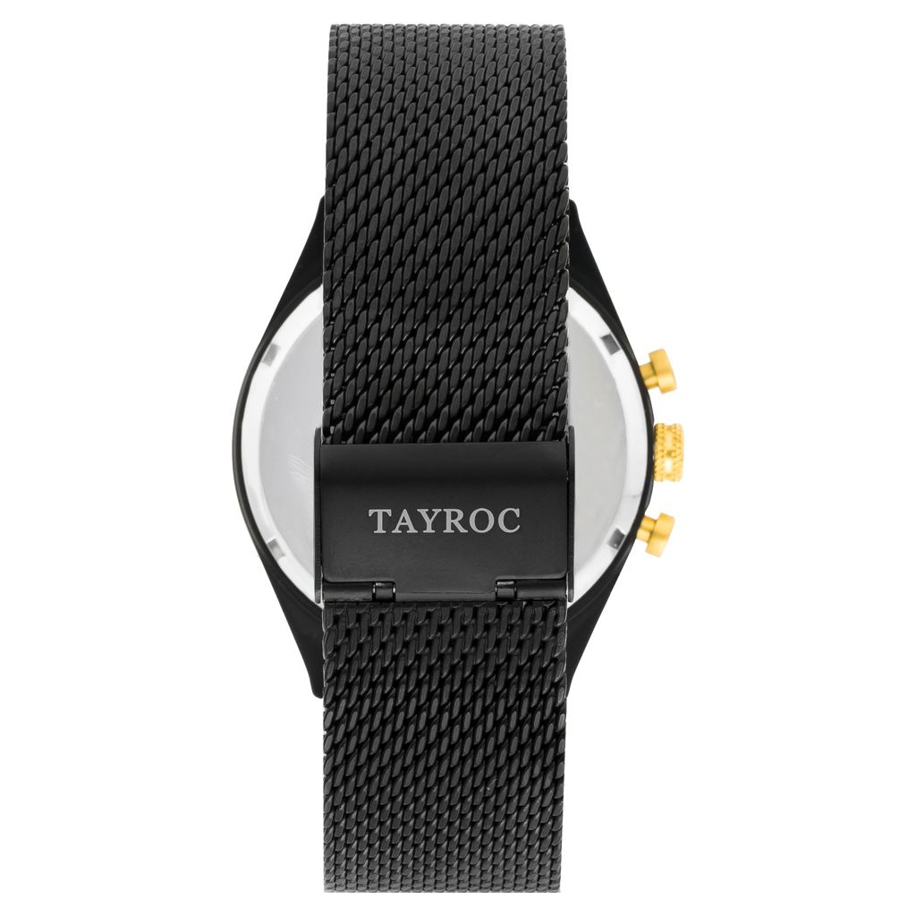 TAYROC SPHINX BLACK GOLD / BLACK MESH STRAP 42mm