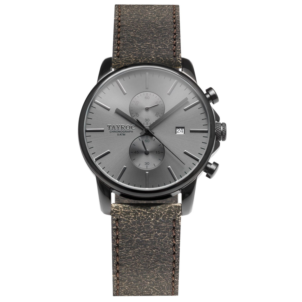 TAYROC TXM092 GUNMETAL / LEATHER STRAP 42mm