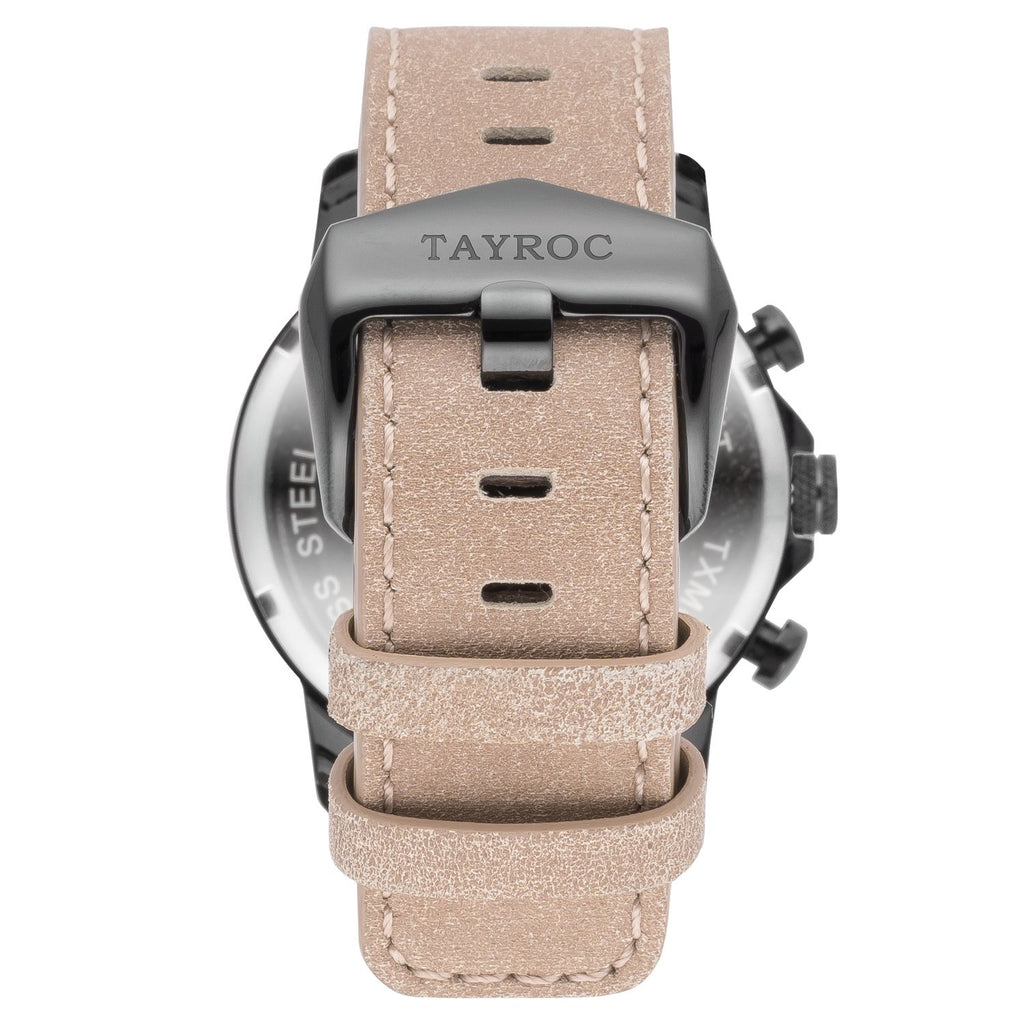 TAYROC TXM097 BLACK / LEATHER STRAP 42mm