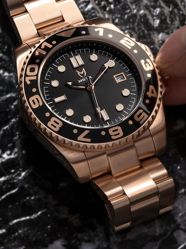 MSTR SVO104SS - VOYAGER ROSE GOLD / BROWN / SS BAND