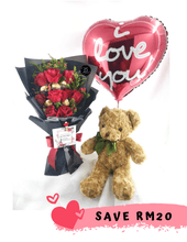 Load image into Gallery viewer, Birthday Bundle| Fresh Flower and Gift Delivery| Ipoh Free Delivery| Ipohfreshflower.com