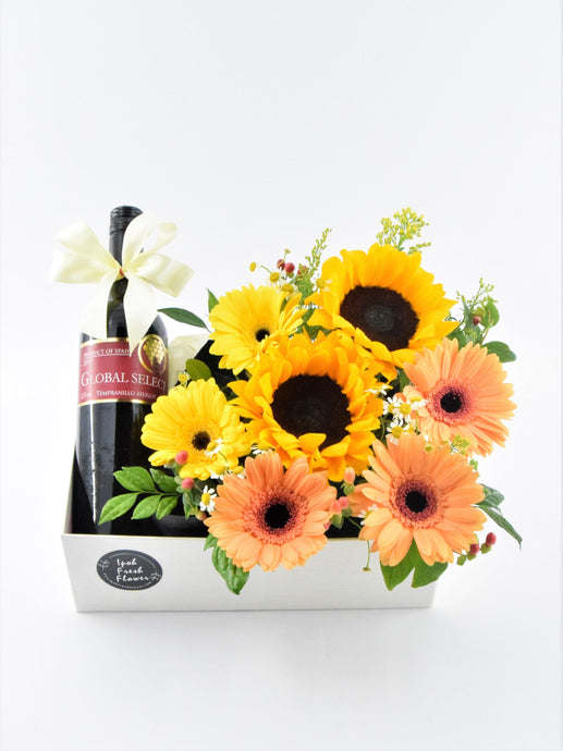 Father's Day Special Red Wine Bloom Box| Ipoh Free Delivery|ipohfreshflower.com