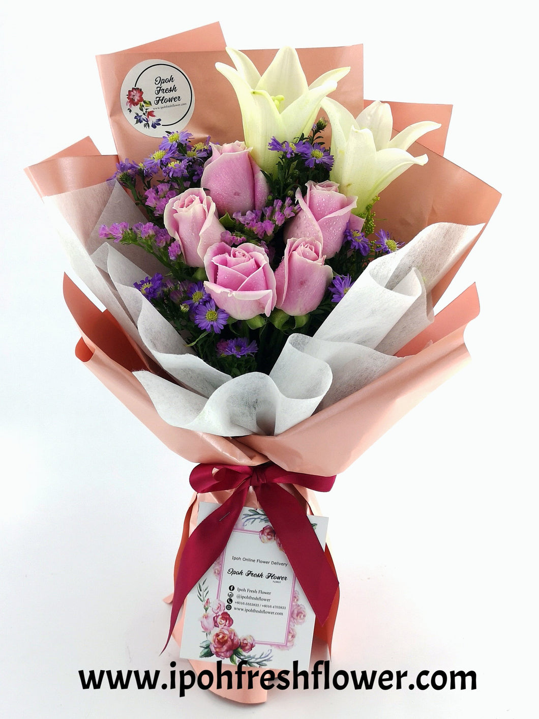 Fresh Flower Bouquet-Lilies Bouquet| Ipoh Free Delivery| Ipohfreshflower.com