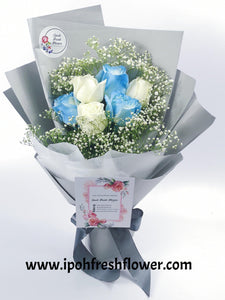 Blue Foses| Fresh Flower Bouquet| Ipoh Free Delivery| Ipohfreshflower.com