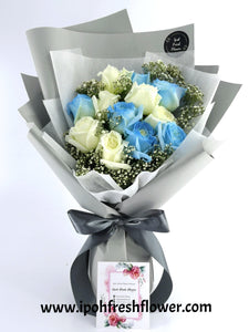 Fresh Flower Bouquet- blue roses| Ipoh Free Delivery| Ipohfreshflower.com