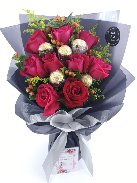 Chocolate Bouquet| Ipoh Fresh Flower | Ipoh Online Florist https://www.ipohfreshflower.com/products/sweet-admiration Sweet Admiration consists of 9 red roses and 5 Ferrero Rochers. Never miss the chance to tell her that she is beautiful and that you admire her.