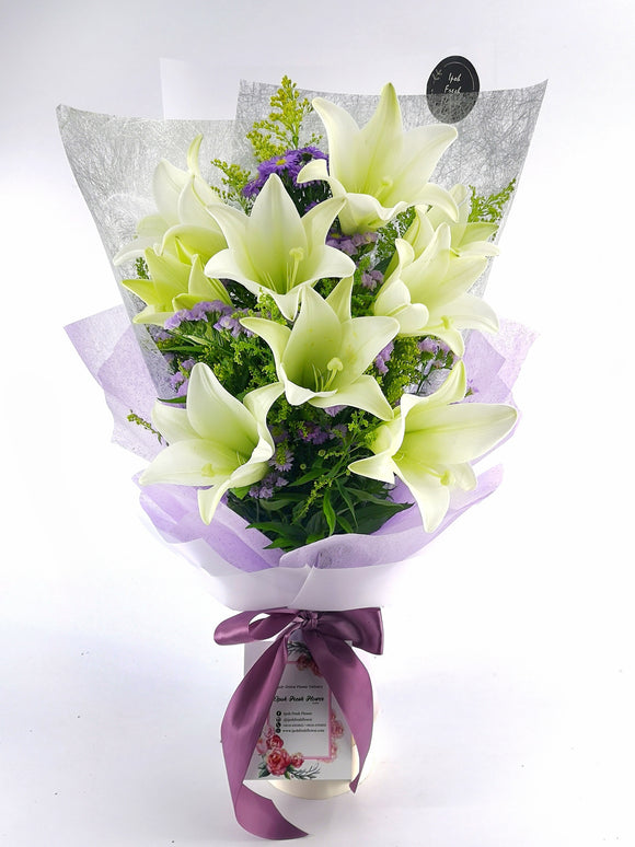 Lily& Rose Fresh Flower bouquet| Ipoh Free Delivery| Ipohfreshflower.com