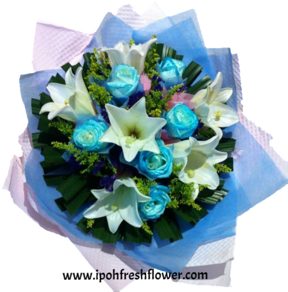 Fresh Flower Bouquet -blue roses | Ipoh Free Delivery| Ipohfreshflower.com