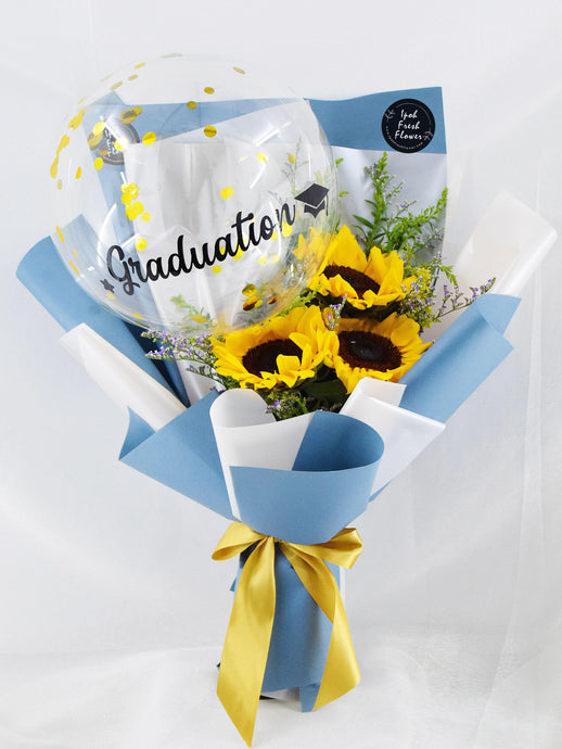 Sunflowers balloon| Balloon bouquet| Ipoh Free Delivery| Ipohfreshflower.com