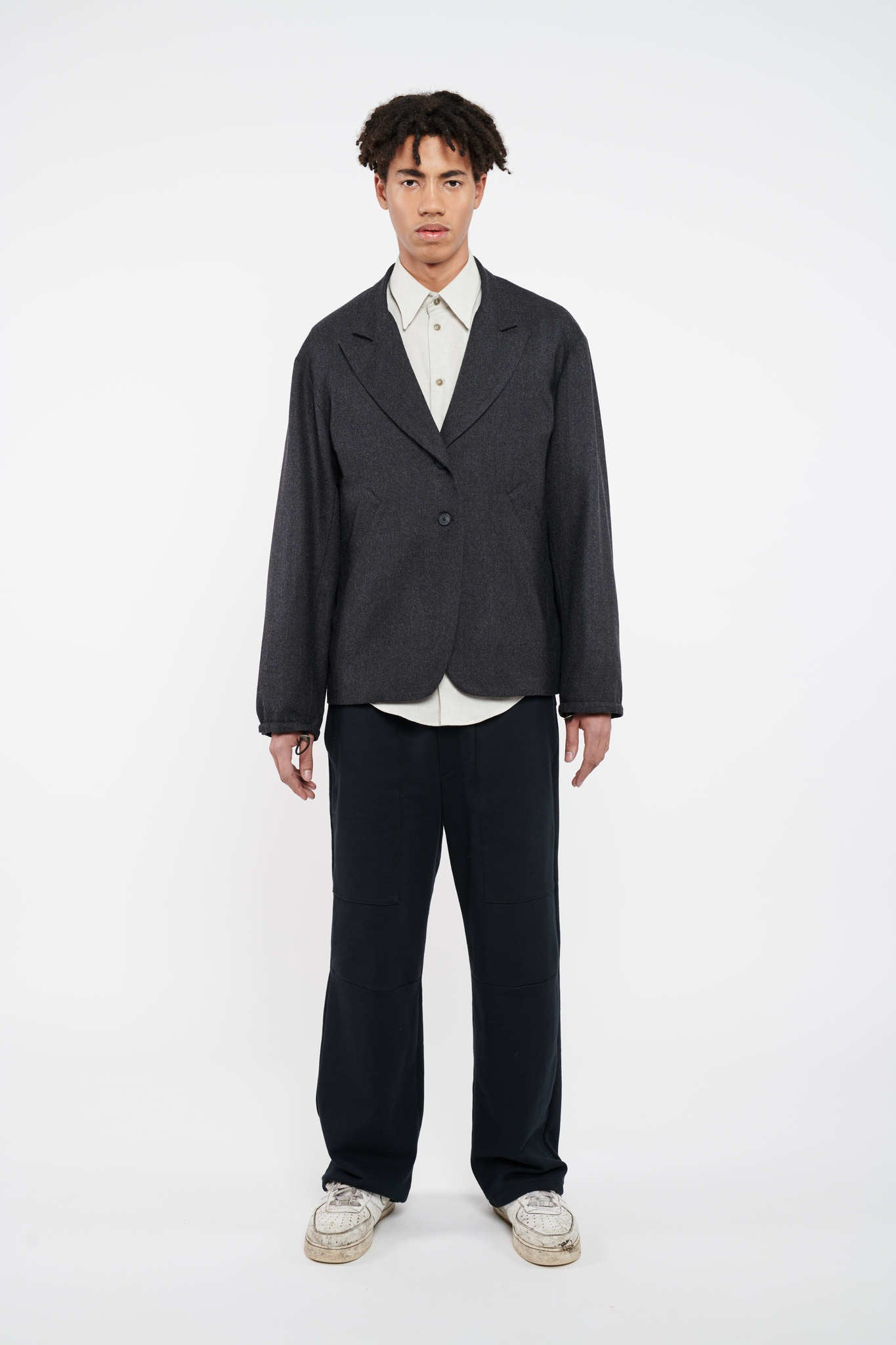 Corporation Drop Shoulder Blazer - Tar Grey
