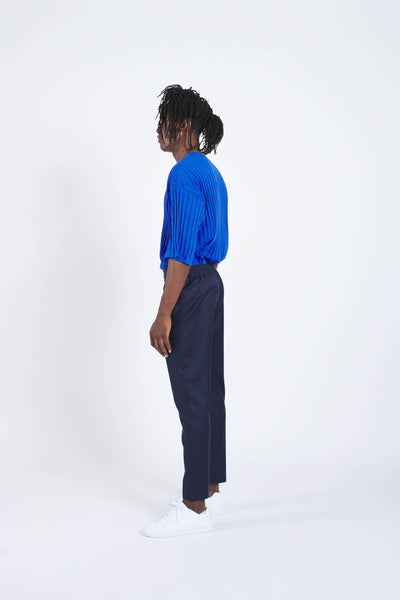 Front Axle Slim Fit Easy Waist Pants - Navy