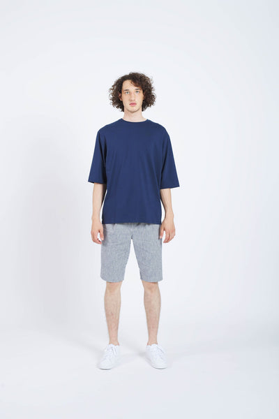 Rear Mirror Drop Shoulder T-Shirt - Dark Blue