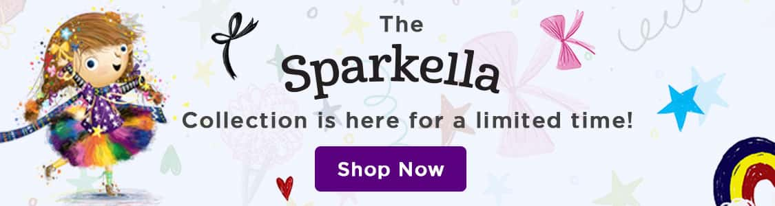slim banner with sparkella character and graphic background