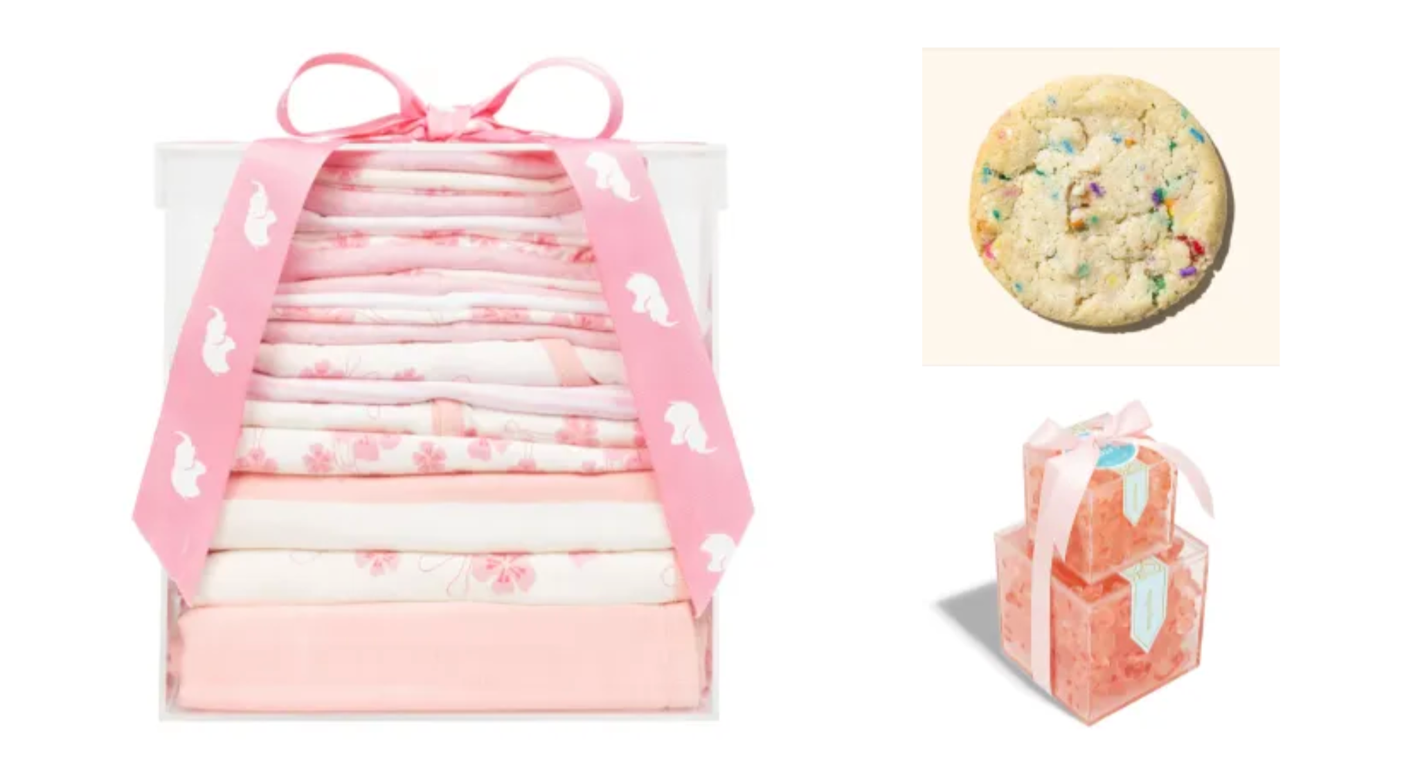 collage with Modern Layette, Milkbar Store Cookie, and Sugarina gift set