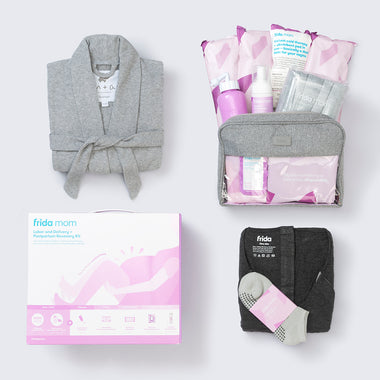 Organic Lounge Robe + Frida Mom Labor and Delivery + Postpartum Recovery Kit