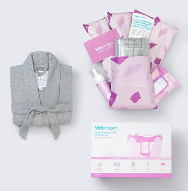 Organic Lounge Robe + Frida Mom Postpartum Recovery Essentials Kit