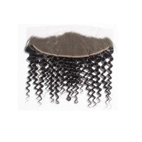 "10-20 Inch 13"" x 4"" Deep Curly Free Parted Frontal #1B Natural Black"