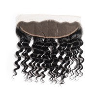 "10-20 Inch 13"" x 4"" Loose Wavy Free Parted Frontal #1B Natural Black"
