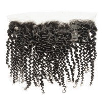 "10-20 Inch 13"" x 4"" Kinky Curly Free Parted Frontal #1B Natural Black"