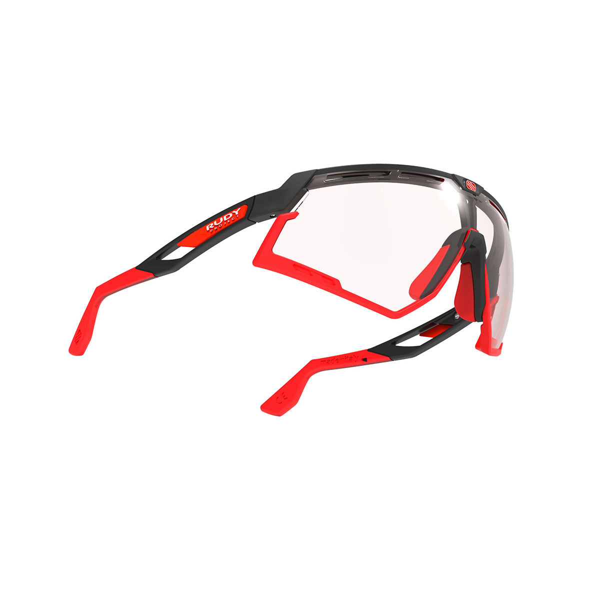 Rudy Project - Defender - frame color: Matte Black - lens color: ImpactX-2 Photochromic Clear to Red - Bumper Color: Red - photo angle: Bottom Front Angle Variant Hover Image