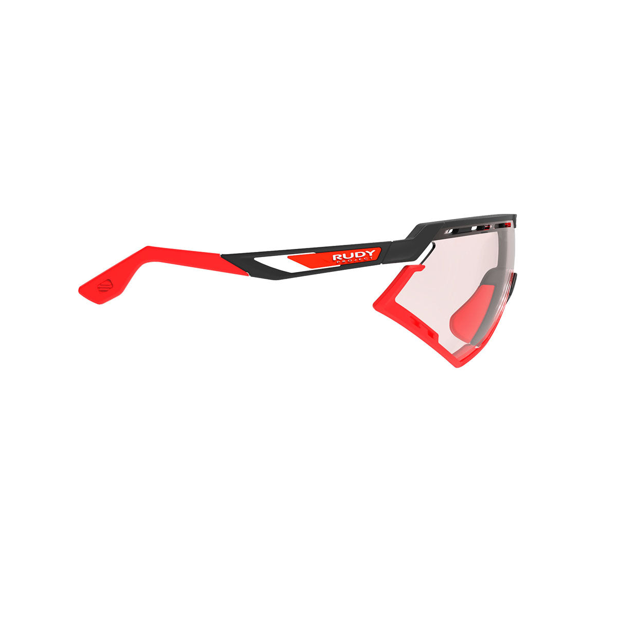 Rudy Project - Defender - frame color: Matte Black - lens color: ImpactX-2 Photochromic Clear to Red - Bumper Color: Red - photo angle: Side Variant Hover Image