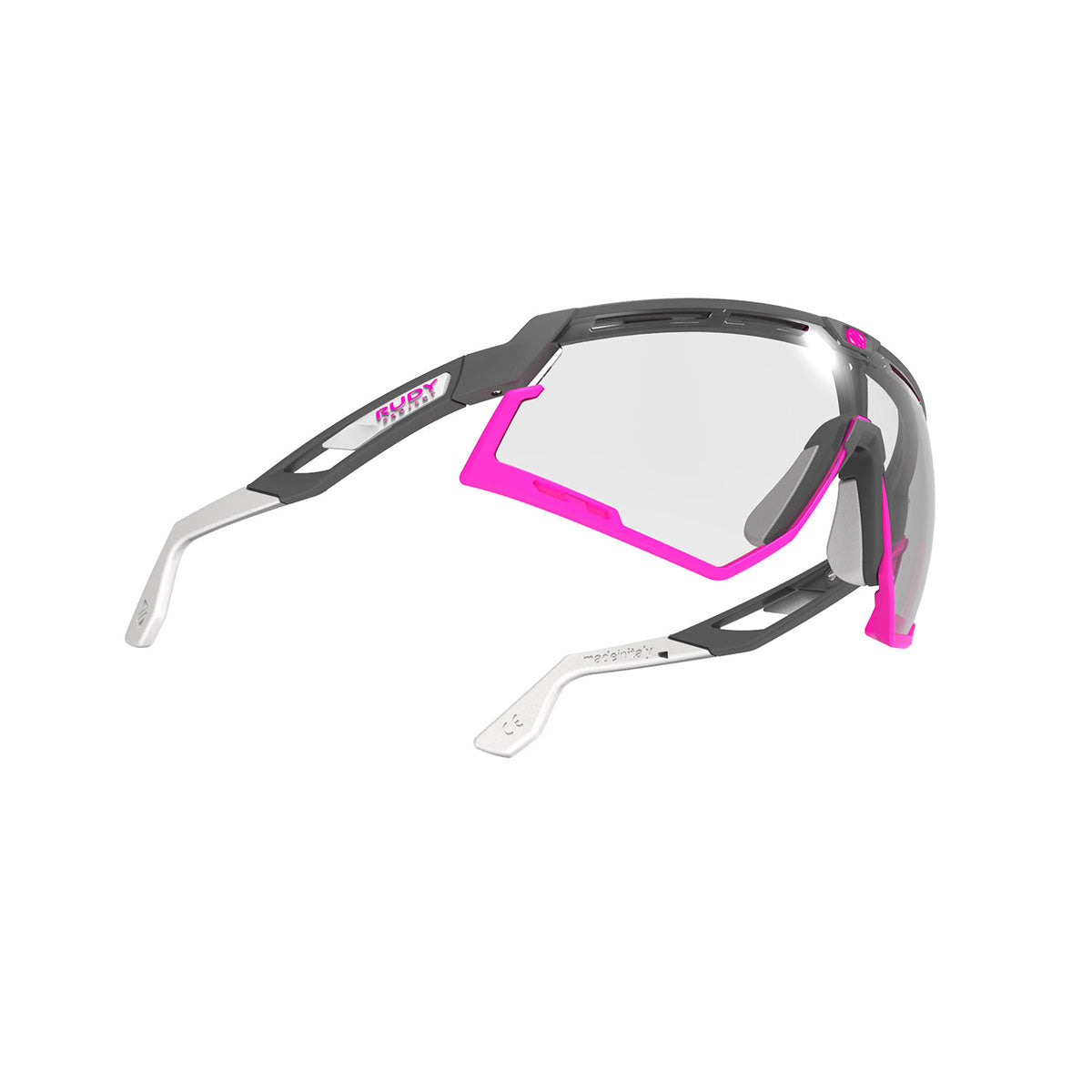 Rudy Project - Defender - frame color: Pyombo Matte - lens color: ImpactX-2 Photochromic Clear to Black - Bumper Color: Fuxia - photo angle: Bottom Front Angle Variant Hover Image