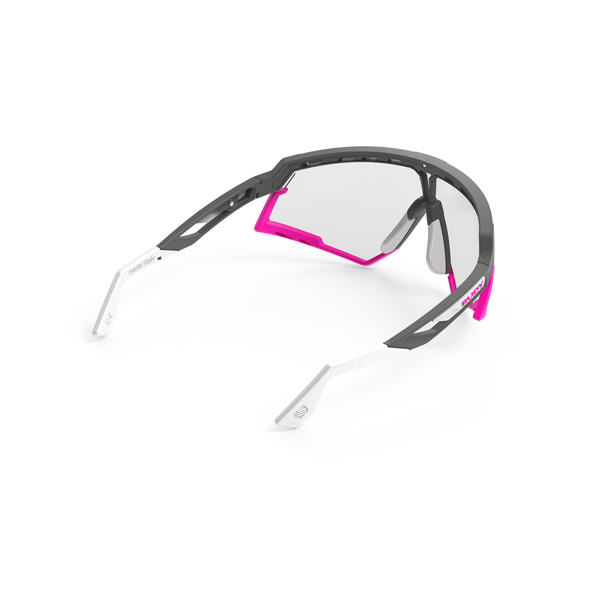 Rudy Project - Defender - frame color: Pyombo Matte - lens color: ImpactX-2 Photochromic Clear to Black - Bumper Color: Fuxia - photo angle: Top Back Angle Variant Hover Image