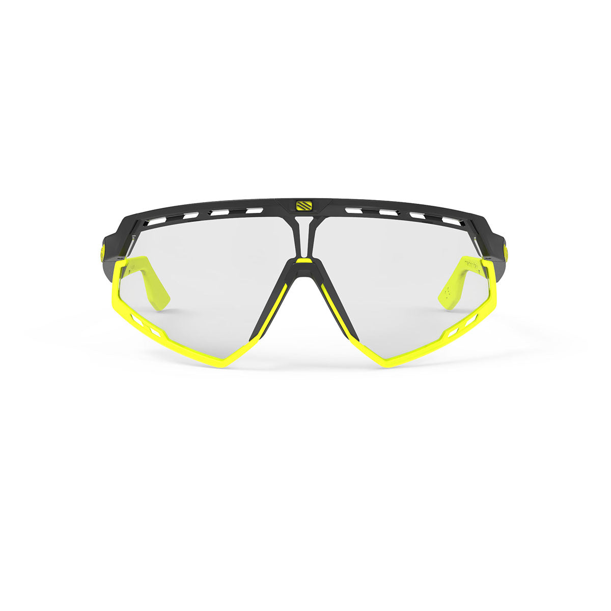 Rudy Project - Defender - frame color: Matte Black - lens color: ImpactX-2 Photochromic Clear to Laser Black - Bumper Color: Yelow Fluo - photo angle: Front View Variant Hover Image