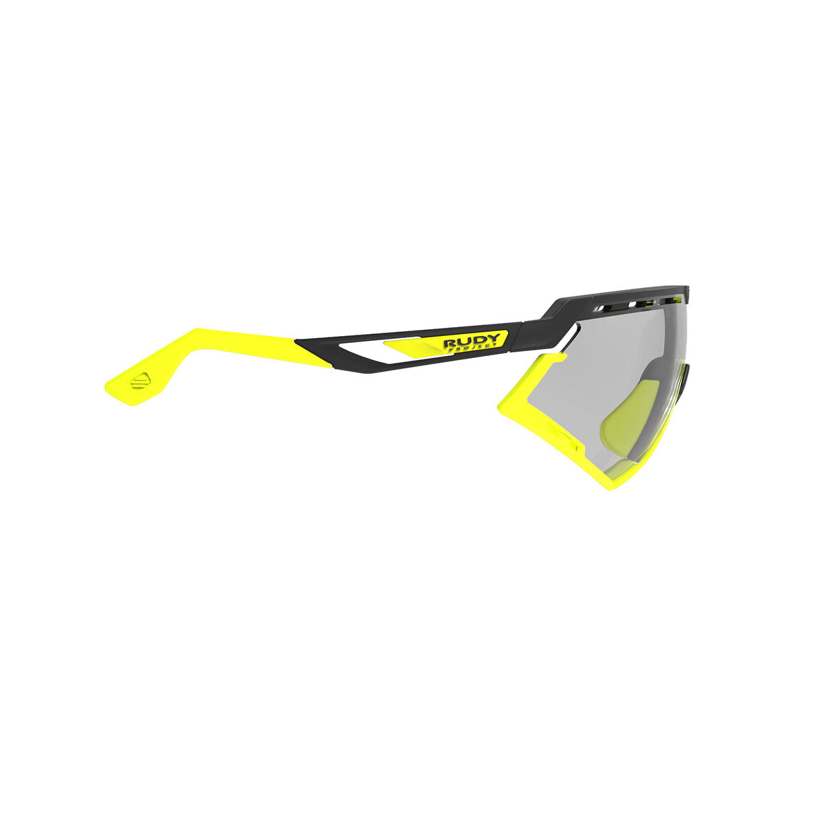 Rudy Project - Defender - frame color: Matte Black - lens color: ImpactX-2 Photochromic Clear to Laser Black - Bumper Color: Yelow Fluo - photo angle: Side Variant Hover Image