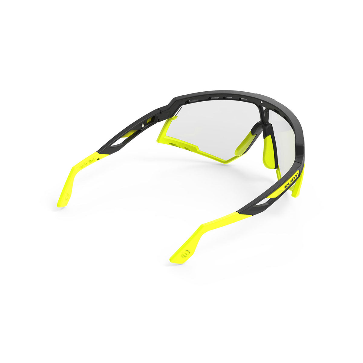 Rudy Project - Defender - frame color: Matte Black - lens color: ImpactX-2 Photochromic Clear to Laser Black - Bumper Color: Yelow Fluo - photo angle: Top Back Angle Variant Hover Image