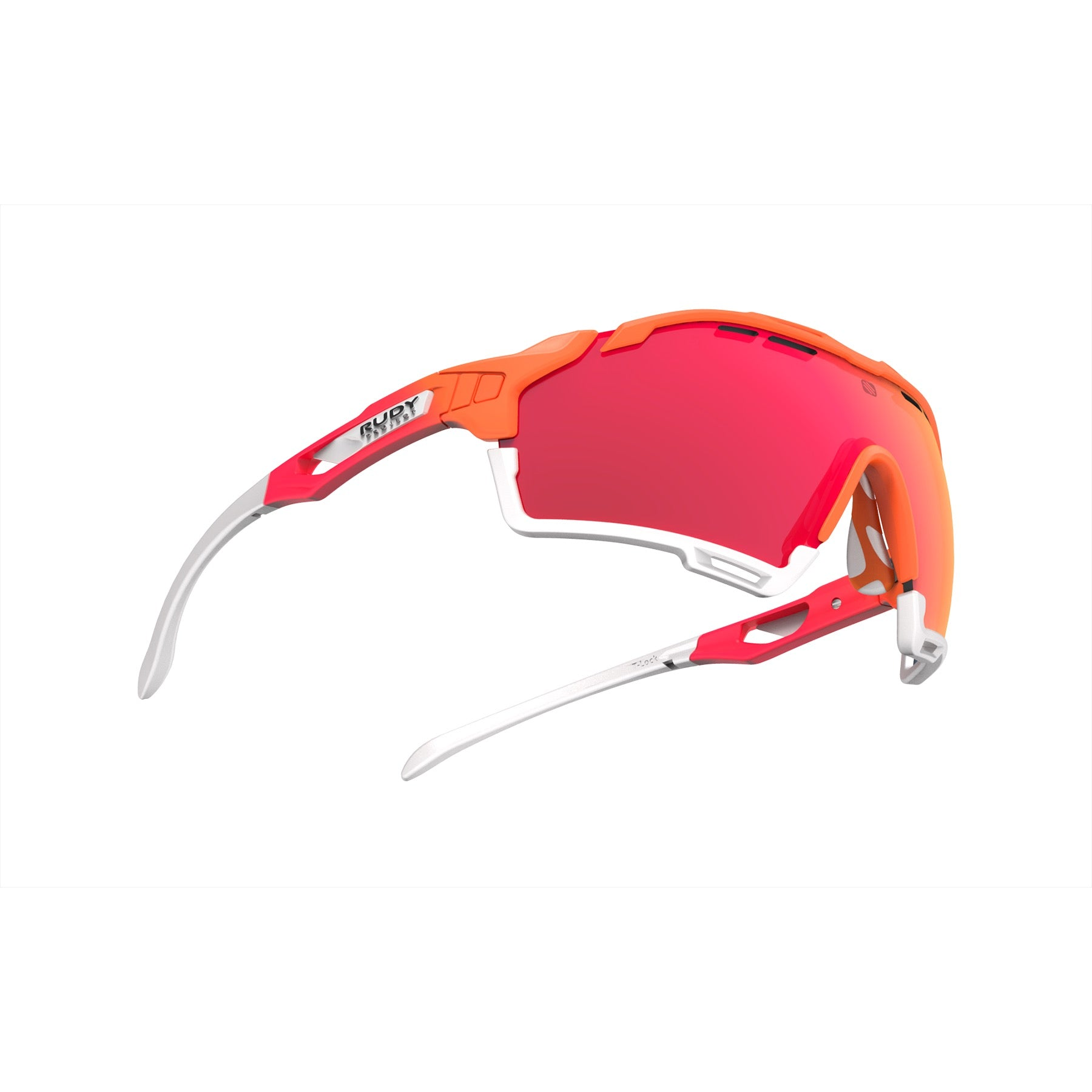 Rudy Project - Cutline - frame color: Mandarin Fade Coral - lens color: Multilaser Red - Bumper Color: White - photo angle: Bottom Front Angle Variant Hover Image