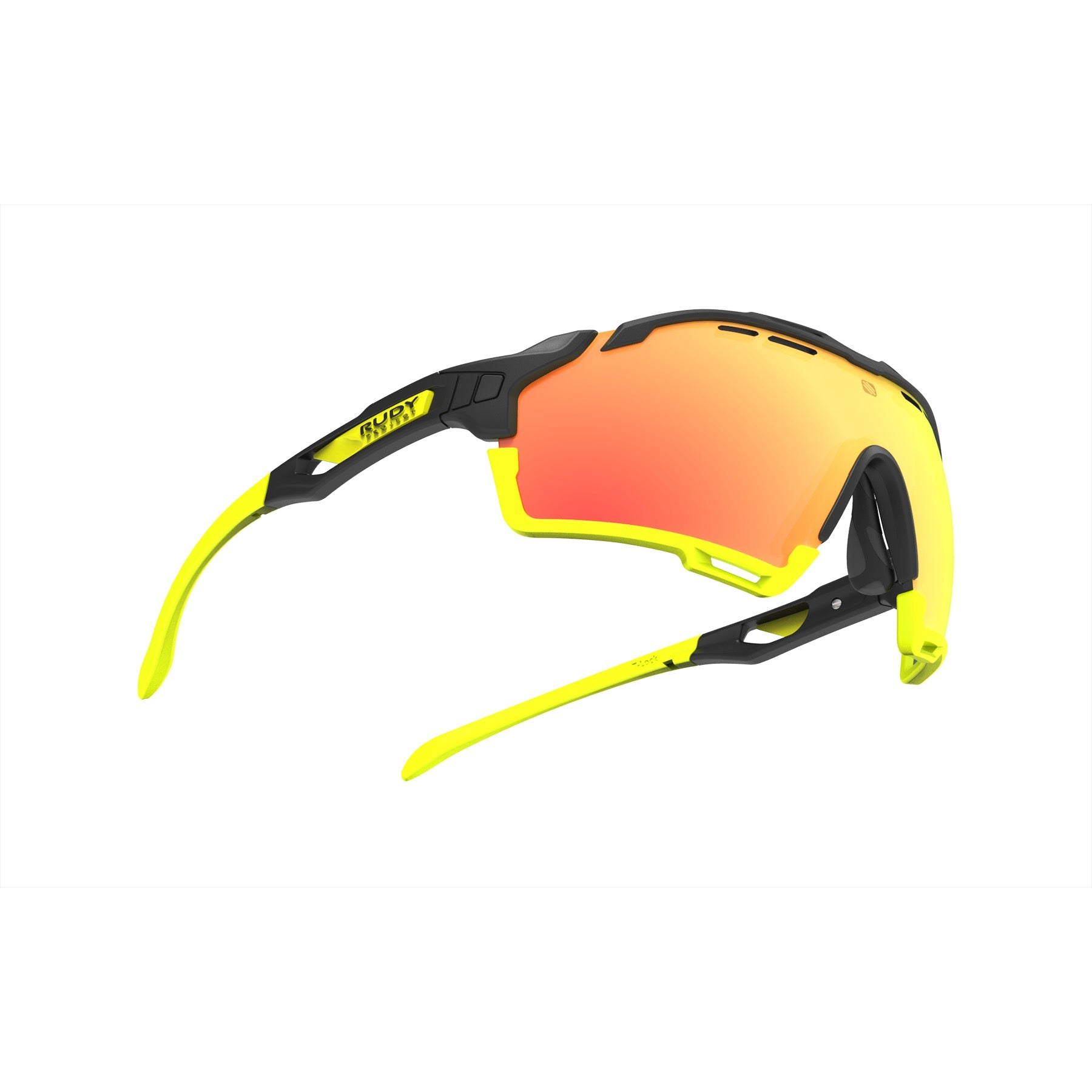 Rudy Project - cutline - frame color: Matte Black - lens color: Multilaser Orange - Bumper Color: Yellow Fluo - photo angle: Bottom Front Angle Variant Hover Image