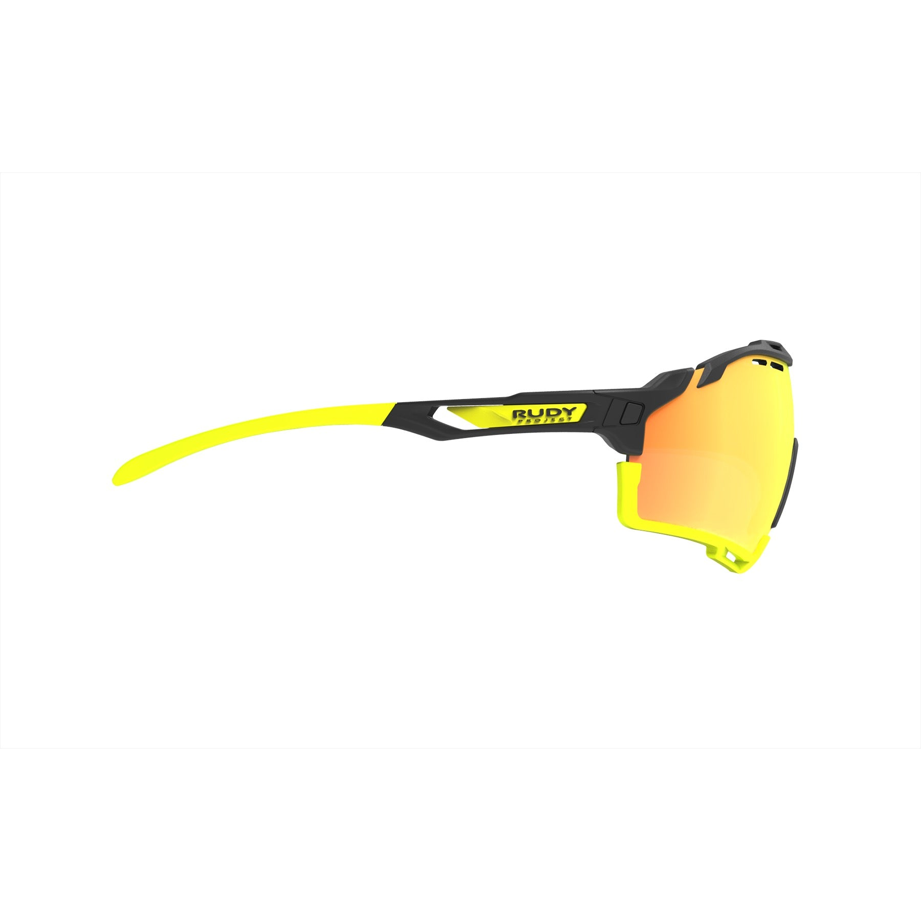 Rudy Project - cutline - frame color: Matte Black - lens color: Multilaser Orange - Bumper Color: Yellow Fluo - photo angle: Side Variant Hover Image