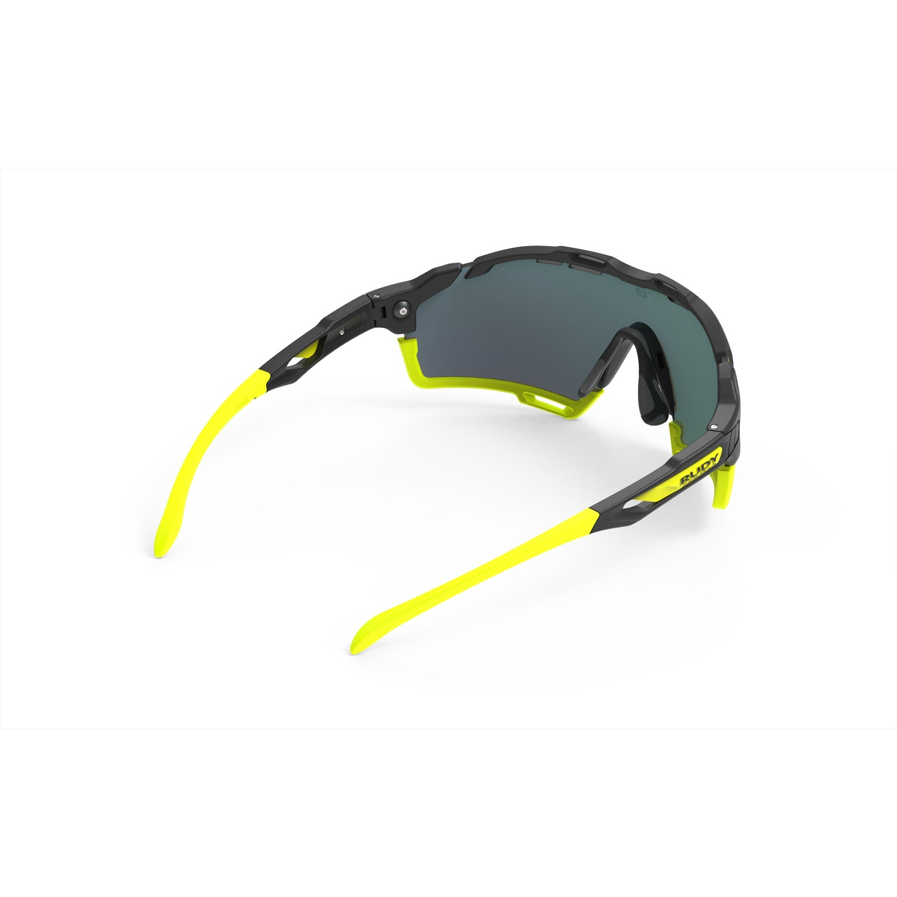 Rudy Project - cutline - frame color: Matte Black - lens color: Multilaser Orange - Bumper Color: Yellow Fluo - photo angle: Top Back Angle Variant Hover Image