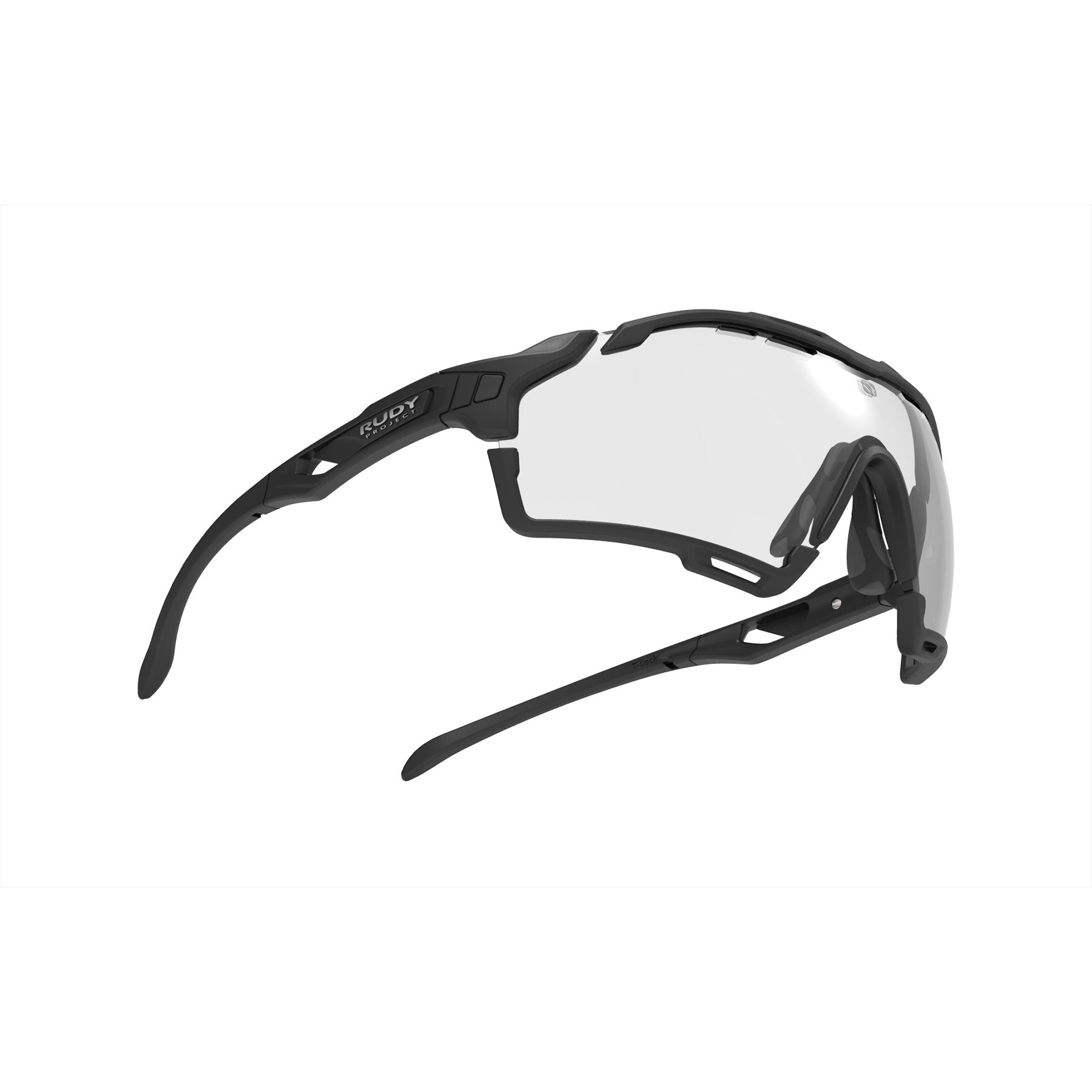 Rudy Project - Cutline - frame color: Matte Black - lens color: ImpactX-2 Photochromic Clear to Black - Bumper Color: Black - photo angle: Bottom Front Angle Variant Hover Image