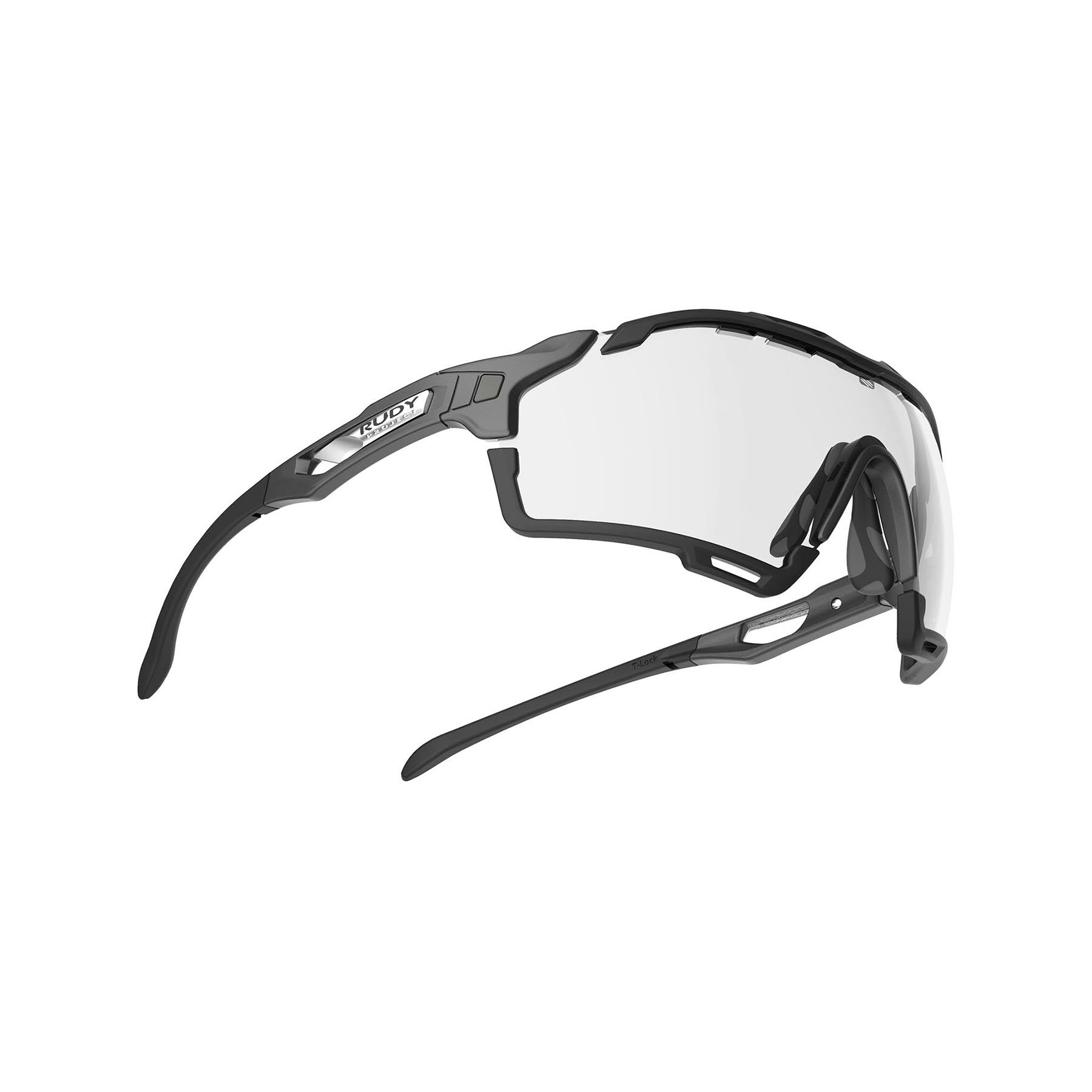 Rudy Project - Cutline - frame color: Graphine Matte - lens color: ImpactX-2 Photochromic Clear to Black - Bumper Color: Black - photo angle: Bottom Front Angle Variant Hover Image