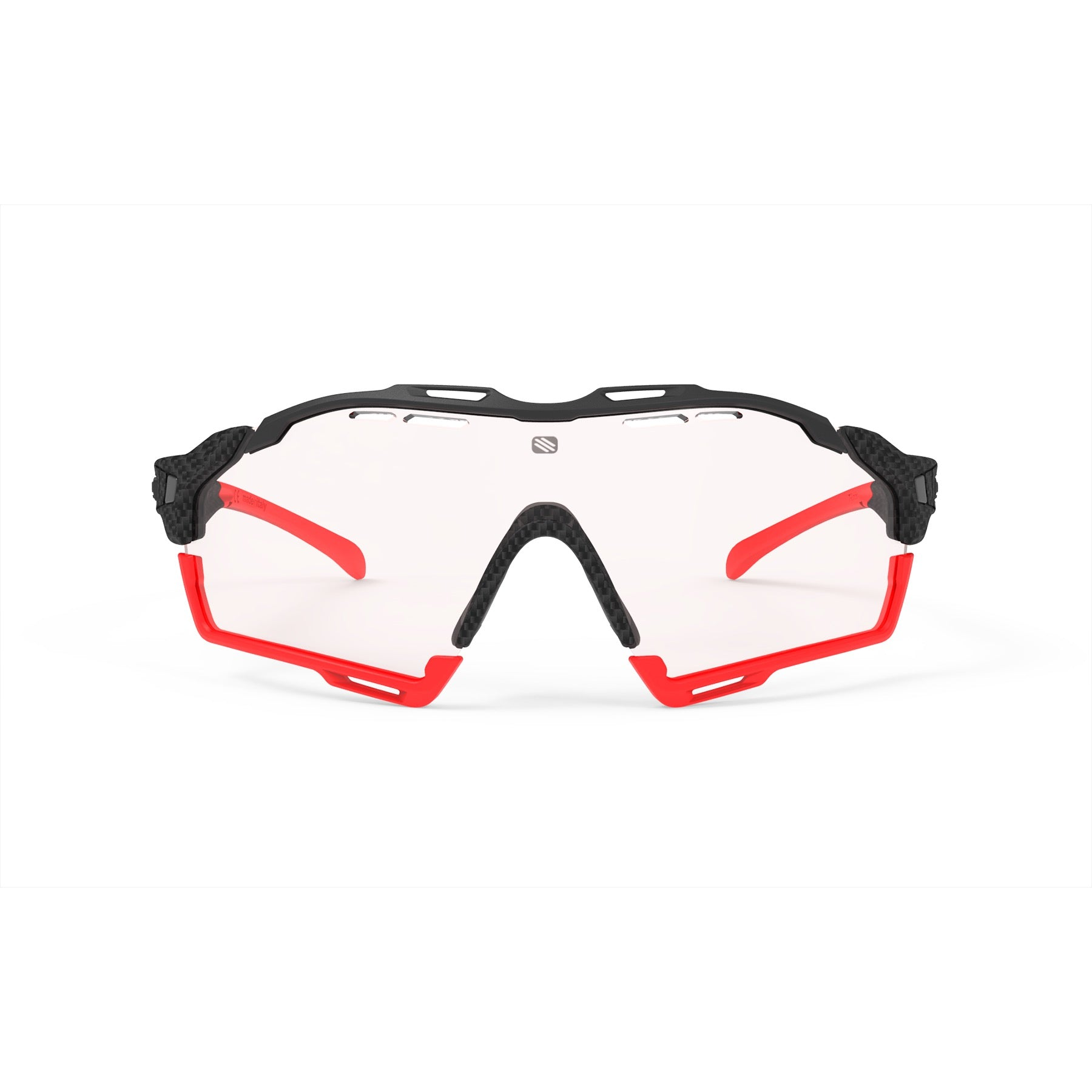 Rudy Project - Cutline - frame color: Carbonium - lens color: ImpactX-2 Photochromic Clear to Red - Bumper Color: Red - photo angle: Front View Variant Hover Image