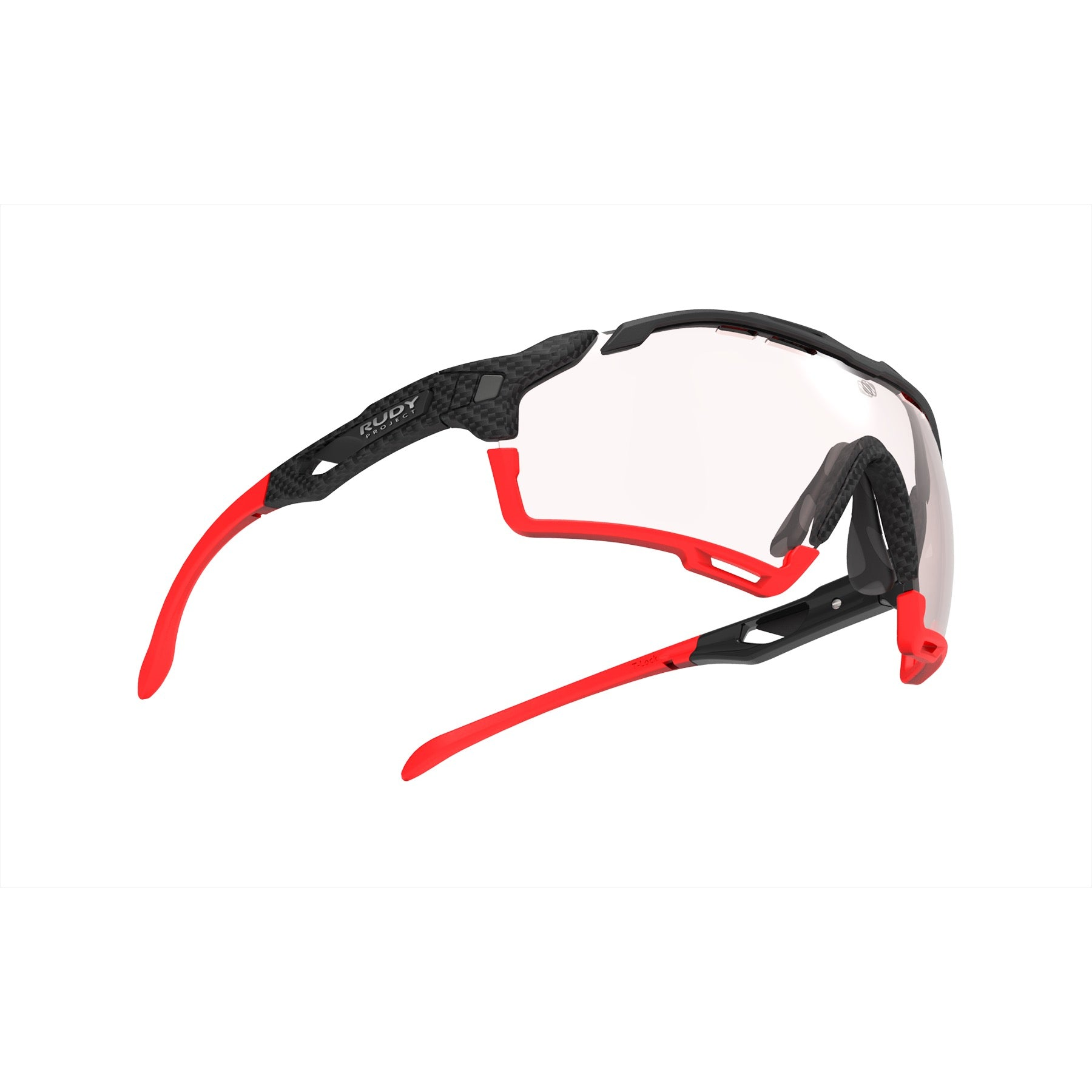Rudy Project - Cutline - frame color: Carbonium - lens color: ImpactX-2 Photochromic Clear to Red - Bumper Color: Red - photo angle: Bottom Front Angle Variant Hover Image