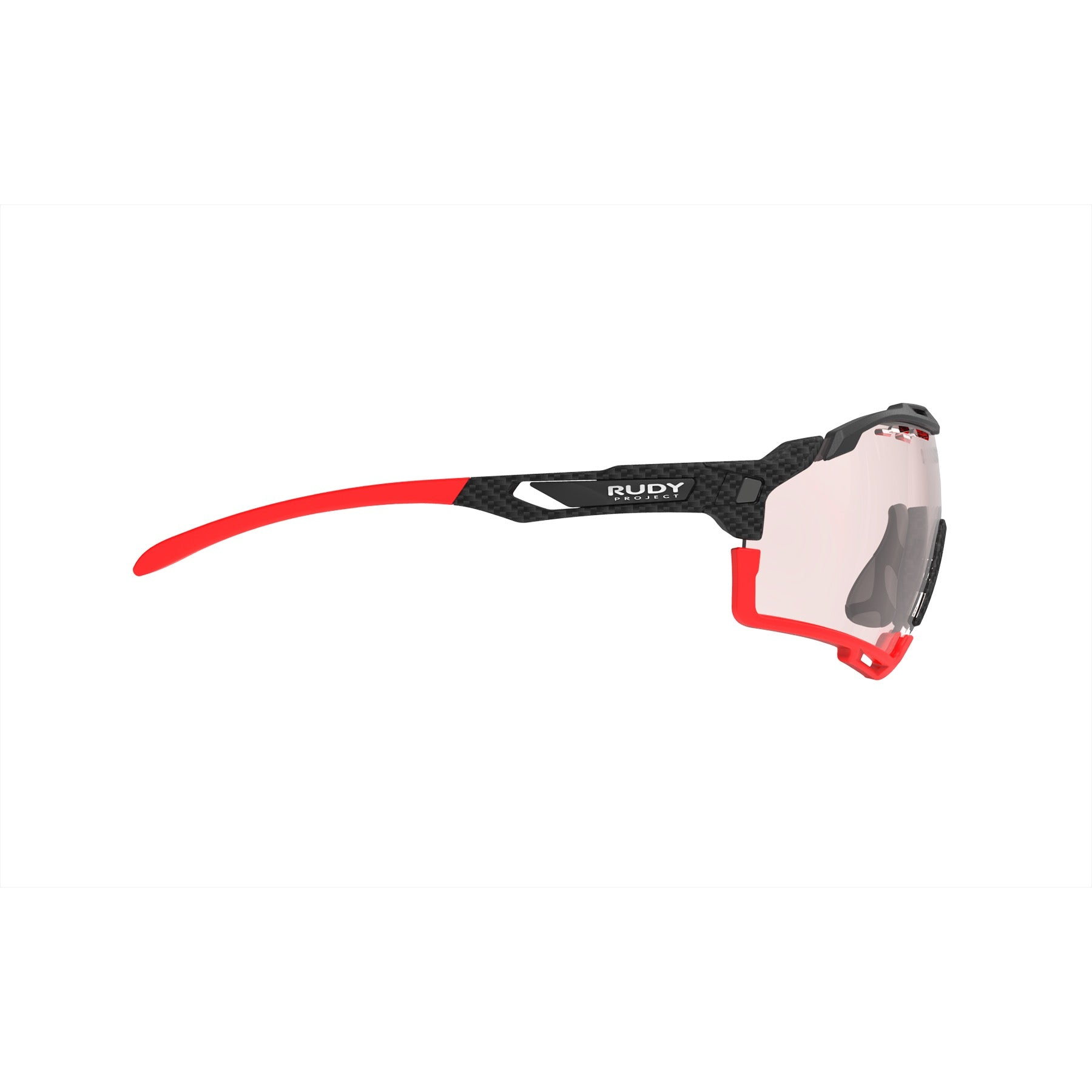 Rudy Project - Cutline - frame color: Carbonium - lens color: ImpactX-2 Photochromic Clear to Red - Bumper Color: Red - photo angle: Side Variant Hover Image