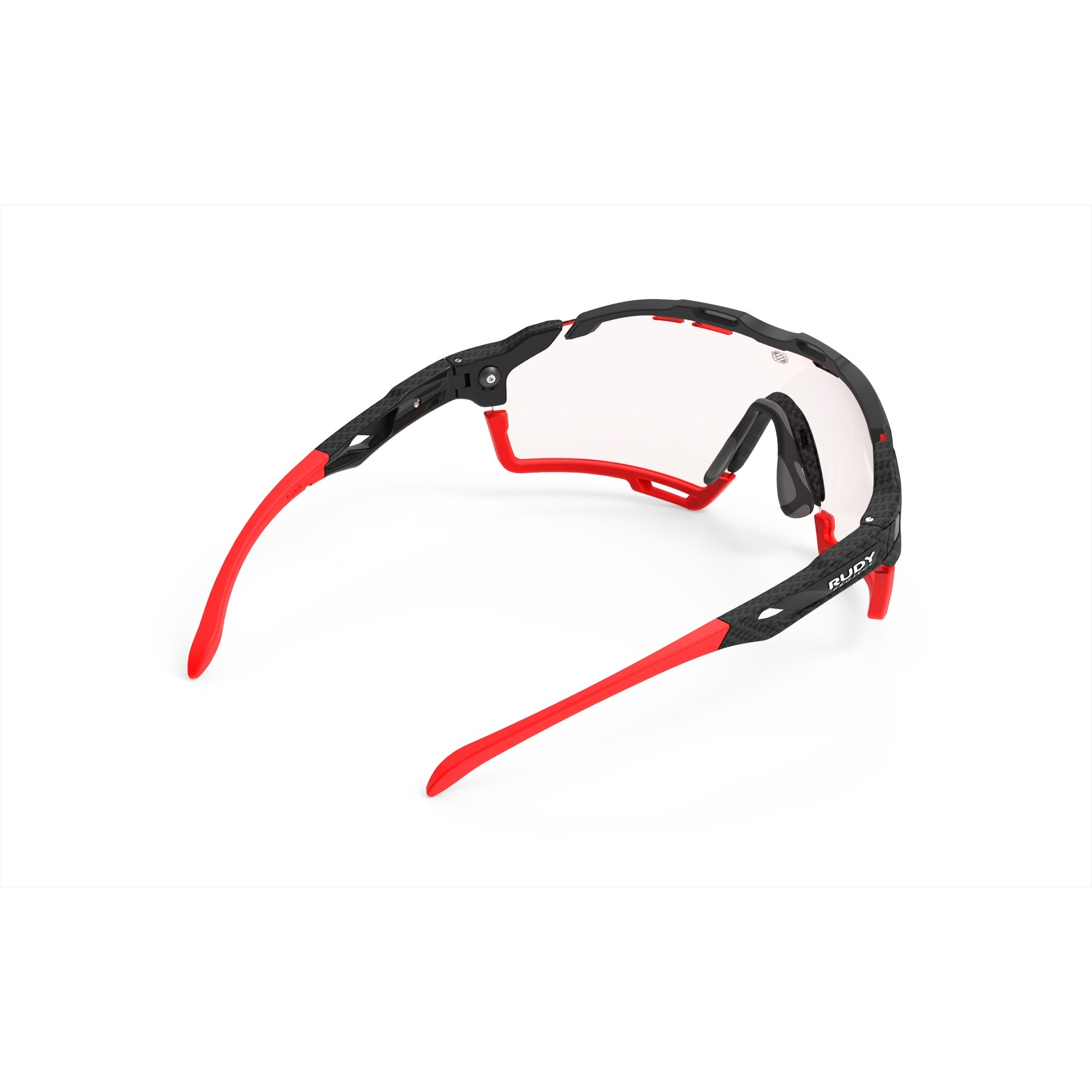 Rudy Project - Cutline - frame color: Carbonium - lens color: ImpactX-2 Photochromic Clear to Red - Bumper Color: Red - photo angle: Top Back Angle Variant Hover Image