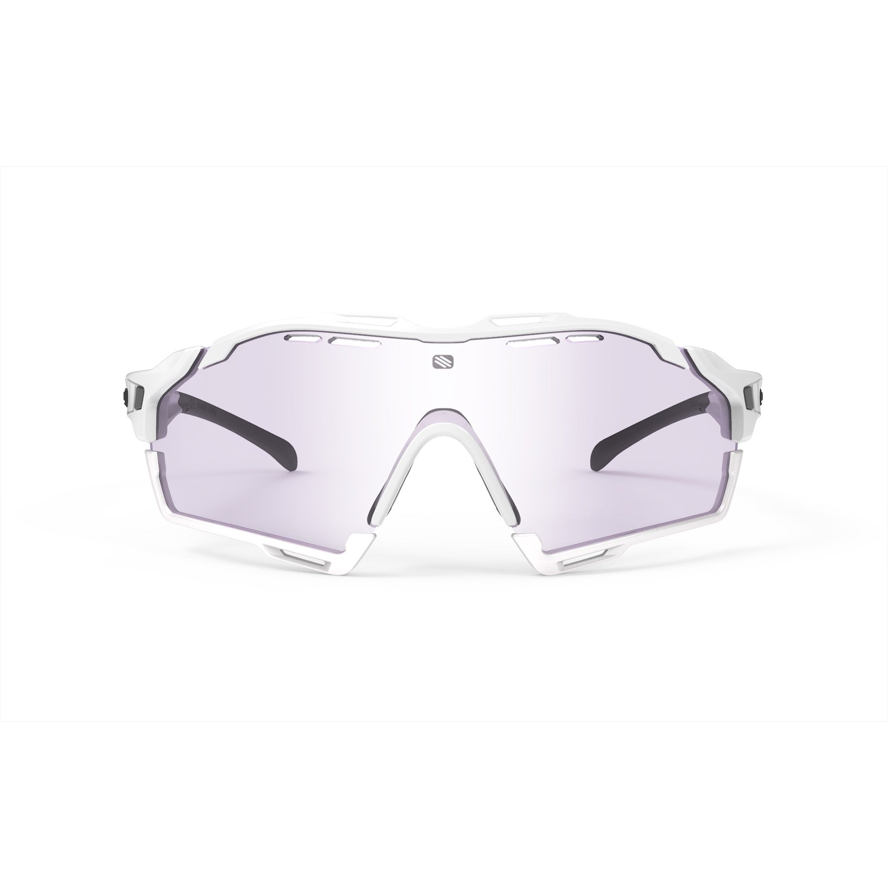 Rudy Project - Cutline - frame color: White Gloss - lens color: ImpactX-2 Photochromic Clear to Laser Purple - Bumper Color: White - photo angle: Front View Variant Hover Image