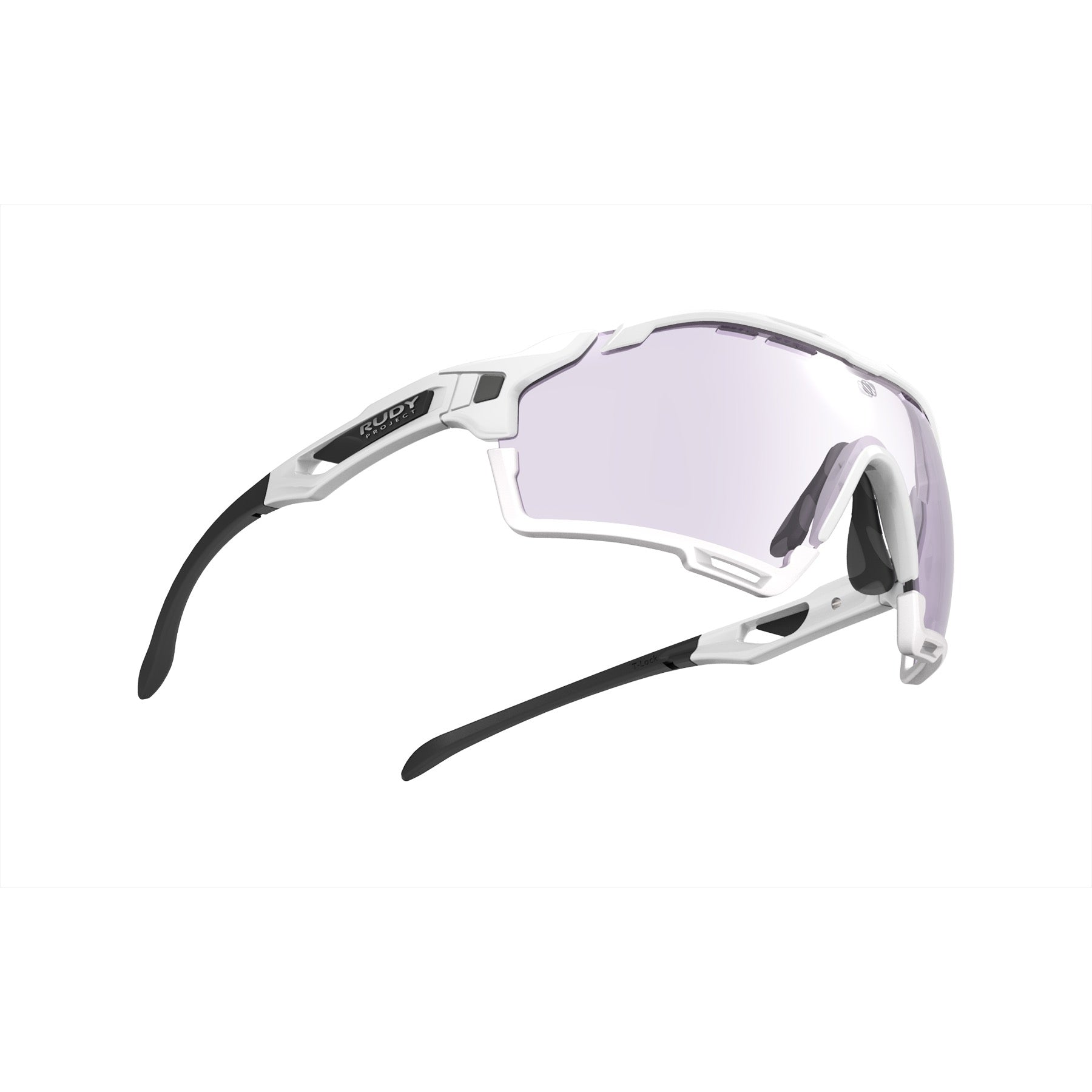 Rudy Project - Cutline - frame color: White Gloss - lens color: ImpactX-2 Photochromic Clear to Laser Purple - Bumper Color: White - photo angle: Bottom Front Angle Variant Hover Image